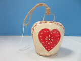 Rustic Country Hand Painted Folk Art Heart Design Tin Cow 5 1/2
