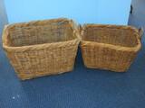 2 Vine Woven Rectangular Handled Baskets