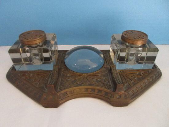 Rare Find Antique Bronze Art Nouveau Inkwells Desk Set Stand w/ Magnifier Disc.