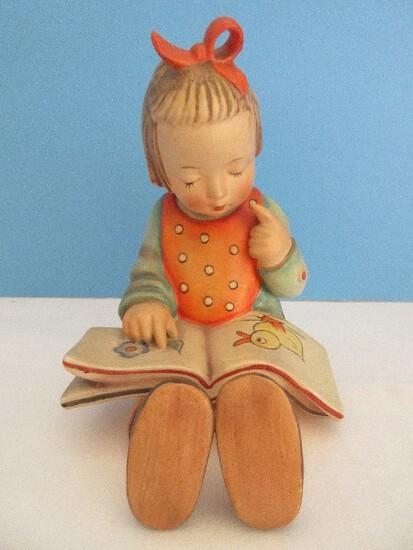 "Vintage Goebel Hummel ""Book Worm"" 5 1/2"" Figurine Girl w/ Picture Book"