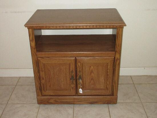 Simulated Wood Grain Microwave Cart w/ Lower Shelf & Double Panel Base Doors