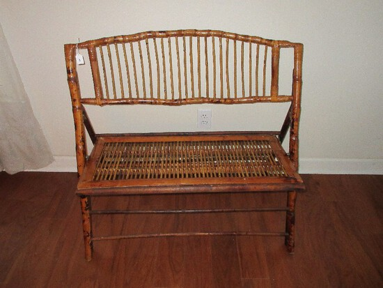 Chinoiserie Bamboo Folding Settee Bench w/ Curved Back