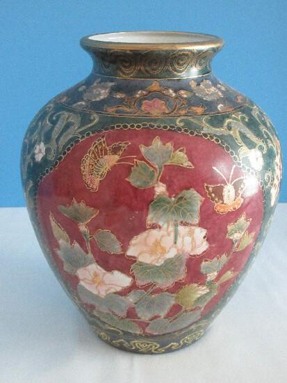 """Semi-Porcelain Oriental Floral & Butterflies Hand Painted Design 9"""" Vase Gilt Trim"""