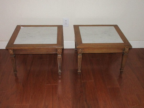 Pair - Italian Neoclassical Style Low Fruitwood Side Tables w/ Marble Insert Tops