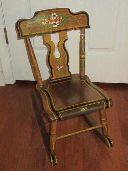 Vintage Pine Child's Rocker Rocking Chair Hand Painted Floral Spray w/ Black & Gilt Trim Outline