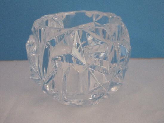 Signed Tiffany & Co. Crystal Rock Cut Votive Candle Holder
