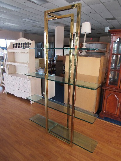 Unique Tall Brass Metal Stand w/ 4 Glass Shelves