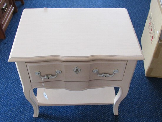 Stanley Furniture Pale Wooden Side Table 1 Drawer Curved Legs, 1 Lower Shelf