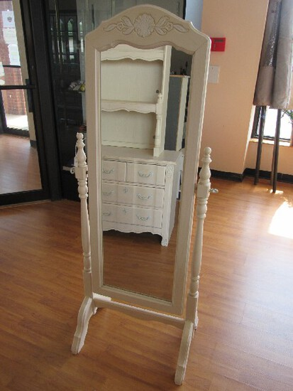 Stanley Furniture Pale Wooden Standing Mirror Adjustable Curved Legs