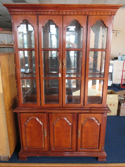 Wooden China Cabinet by Lexington Hutch 2 Doors w/ Square Panel Glass Windows