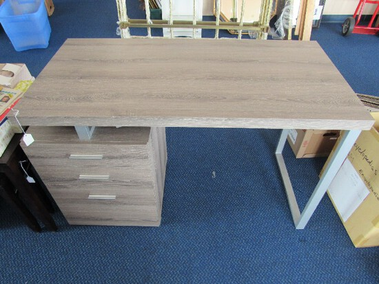 Grey Wooden Computer Desk w/ 3 File Drawers, Modernist Metal Square Stand