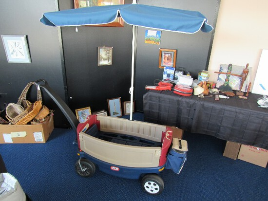 Little Tikes Children's Play Cart w/ Handle & Attached Canopy Shade, 2 Seats, 1 Storage Center