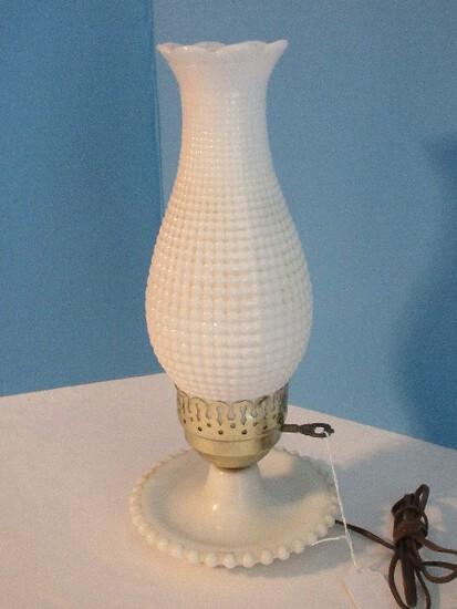 "Milk Glass Boudoir 13 1/2"" Lamp w/ Beaded Trim Base"