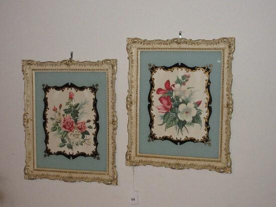 Pair - Vintage Turner Wall Accessory Décor Botanical Floral Rose Bouquet