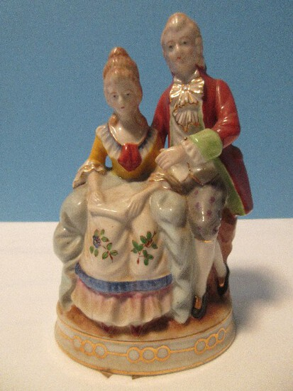 """Occupied Japan Porcelain Victorian Couple 7 1/4"""" Figurine Hand Painted Circa 1945-1952"""