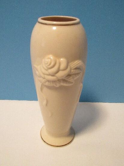 Lenox China Rosebud Collection Vase Cream Sculptured Roses Design Giftware Rose Bloom