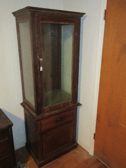 Early Oak Display Case Curio on 1 Over 1 Base Cabinet & Glass Shelves