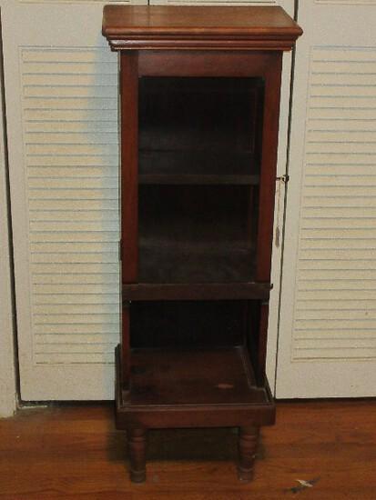 Charming Curio Cabinet Base Shelf on Ring Turned Legs w/ Side Lock & Key