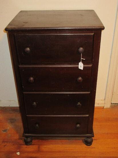Vintage 4 Drawer Chest Wooden Pulls on Bun Feet Dark Stain Finish