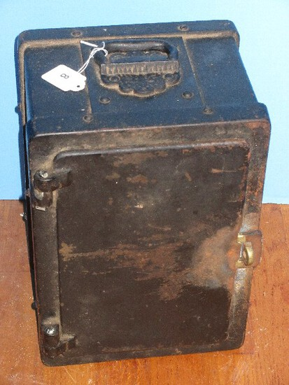 Early Cast Iron Safe Strong Box w/ Handle