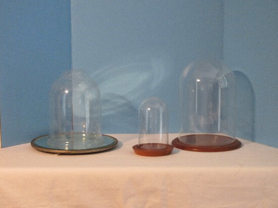 """Group 2 3/4"""" Glass Cloche Dome w/ Wooden Base 9 1/2"""", Round Mirror Plateau 12"""""""