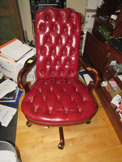Lovely Red Leather Upholstered Pin Back/Cushion Desk Chair w/ Pin Sides, Scroll Wooden Arms