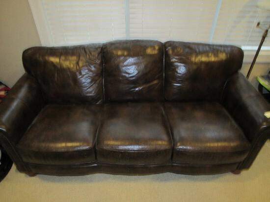 Brown Upholstered Leather Couch Pin Trim/Rolled Arms, Bud Wood Feet