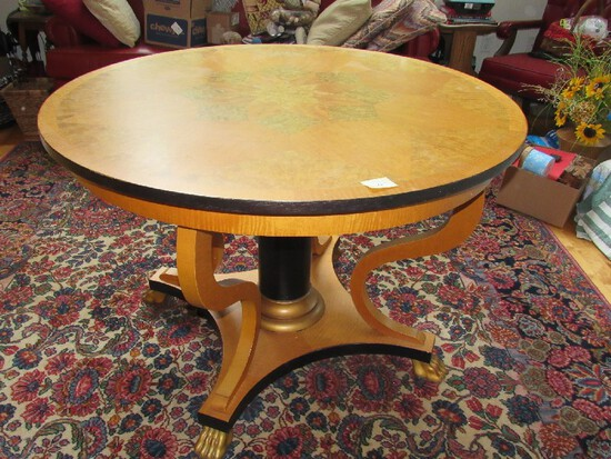 BAKER Wooden Furniture Round Top Table w/ Curved Legs, Black Plinth Center to Wood Base