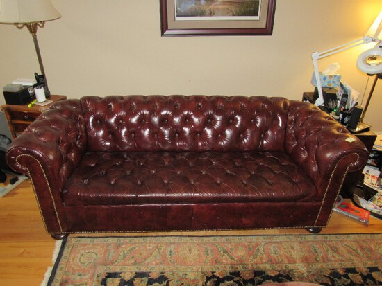 Old Colony -Red/Brown Leather Pin Seat/Back Couch Rolled Arms, Dark Wood Pad Feet, Pin Trim