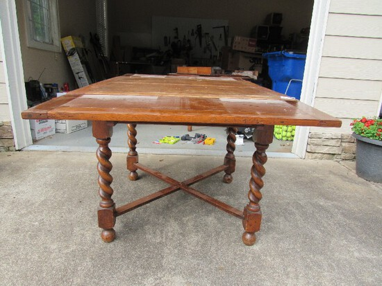 Vintage/Antique Wooden Table w/ Pull Out Wings Block/Twist/Block Legs