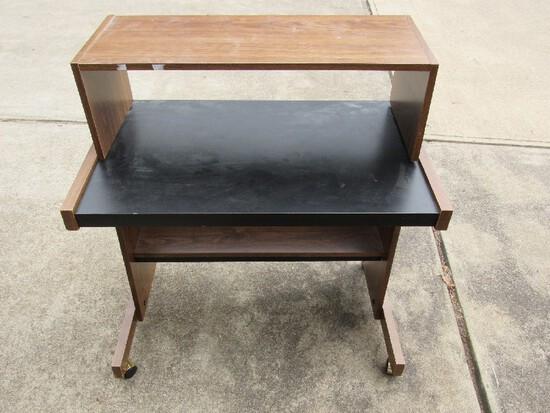 Wooden Veneer/Black Top Laptop Computer Desk on Casters
