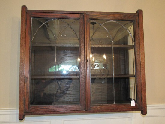 Antique Wooden Cabinet 2 Doors w/ Arch Motif Glass Front/Sides 3-Tier