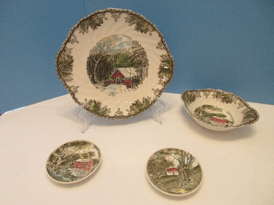 4 Pieces - Johnson Brothers China Friendly Village Pattern 9 3/4 Tab Handle Serving