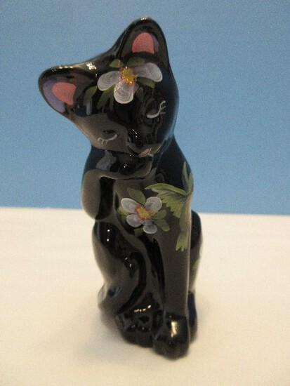 "Fenton Art Glass Amethyst 4"" Cat Figurine Hand Painted Hummingbird Wildflower Design"