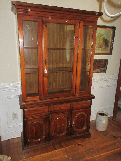 Lenoir Broyhill Furniture Knotty Pine Lighted China House by Cabinet w/ Glass Shelves on Base