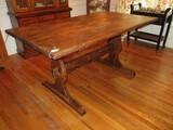 Country Charmer Heart Pine Farm House Cottage Trestle Peg Table