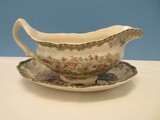 Johnson Brothers China Friendly Village Pattern Gravy Boat & The Well Underplate