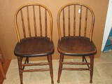 Pair - S. Bent & Brothers Early Windsor Style Spindle Bow Back Oak Chairs