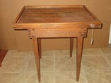 Rustic Primitive Heart Pine Side Table w/ Wood Trim on Tapered Legs