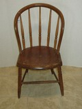 Early Pine Windsor Style Spindle Bow Back Chair