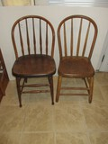 2 Early Windsor Style Spindle Bow Back Chairs