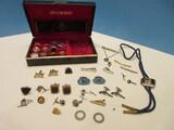 Men's Jewelry Cufflinks, Tie Clips, Bolo Tie, Etc. w/ Case