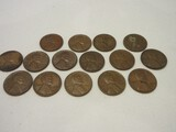 Collection 14 Wheat Pennie Lincoln One Cent Coins