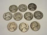 10 Jefferson 5¢ Nickels
