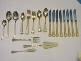 54 Pieces - 1847 Rogers Brothers International Silver Golden Flair Pattern Flatware