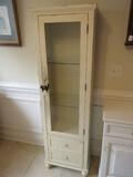 Victorian Era Style Étagère Cabinet Glass Panel Door w/ Adjustable Glass Shelves