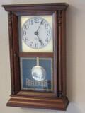Regulator Style Wall Clock w/ Pendulum Pine Case Quartzmatic Westclox