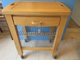 Kitchen Island Cart Cutting Board Top Drawer & Double Wire Baskets Base
