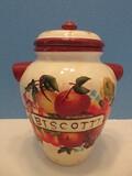 Ceramic Biscotti Relief Fruit Design Cookie/Biscuit Jar w/ Lid & Lug Handles Hand Painted
