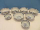 Group - 4 Semi-Porcelain Blue & White Oriental Dragon Pattern w/ Border Rice Bowls & Other